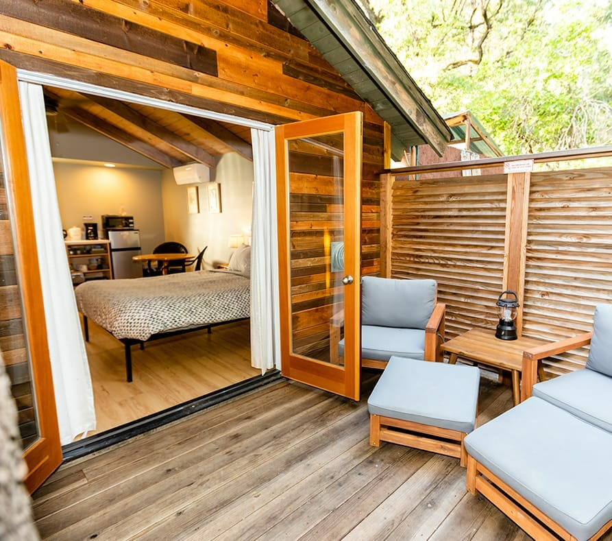 the terrace of reverie retreat cottage with the view of the bedroom