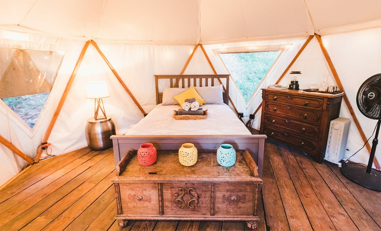 yurt sunset interior