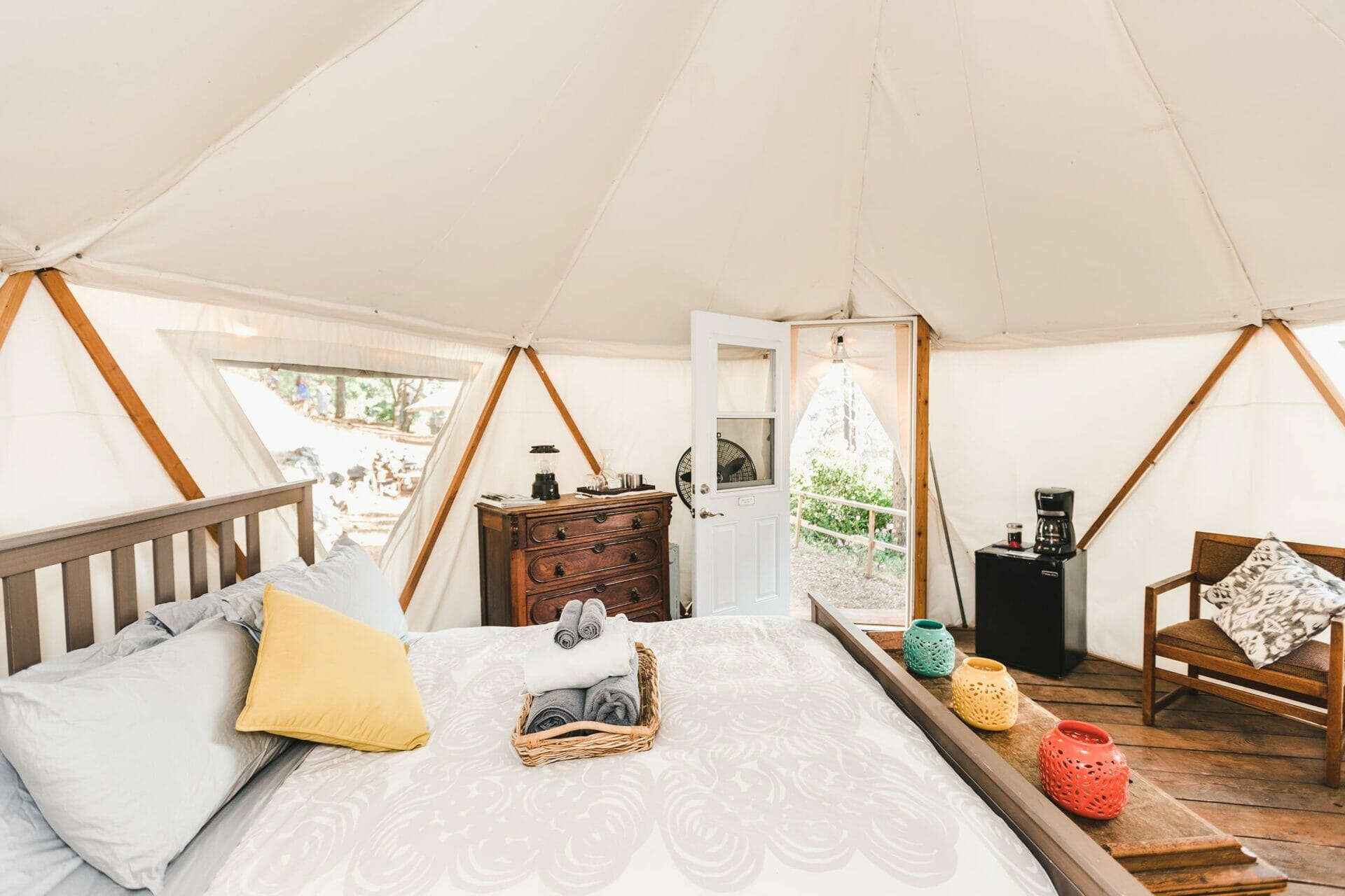 The view from the interior of Yurt Sunset